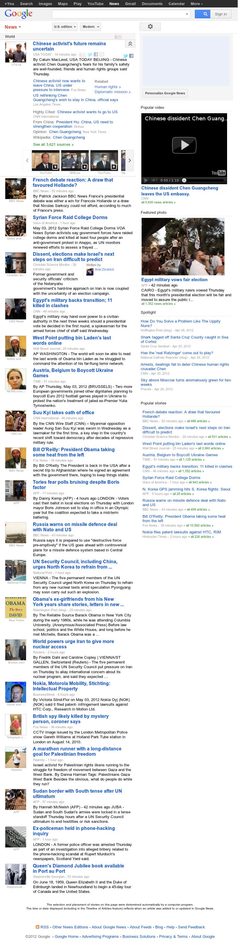 Google News: World at Thursday May 3, 2012, 1:07 p.m. UTC