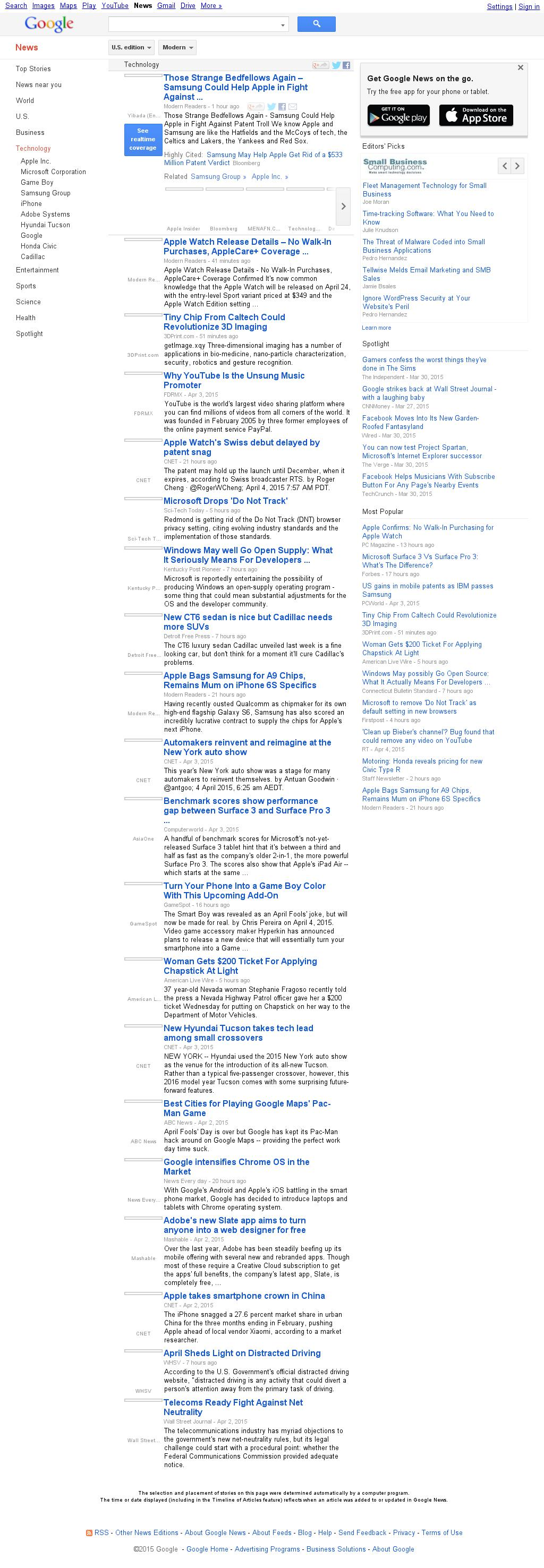 Google News: Technology at Sunday April 5, 2015, 12:10 p.m. UTC