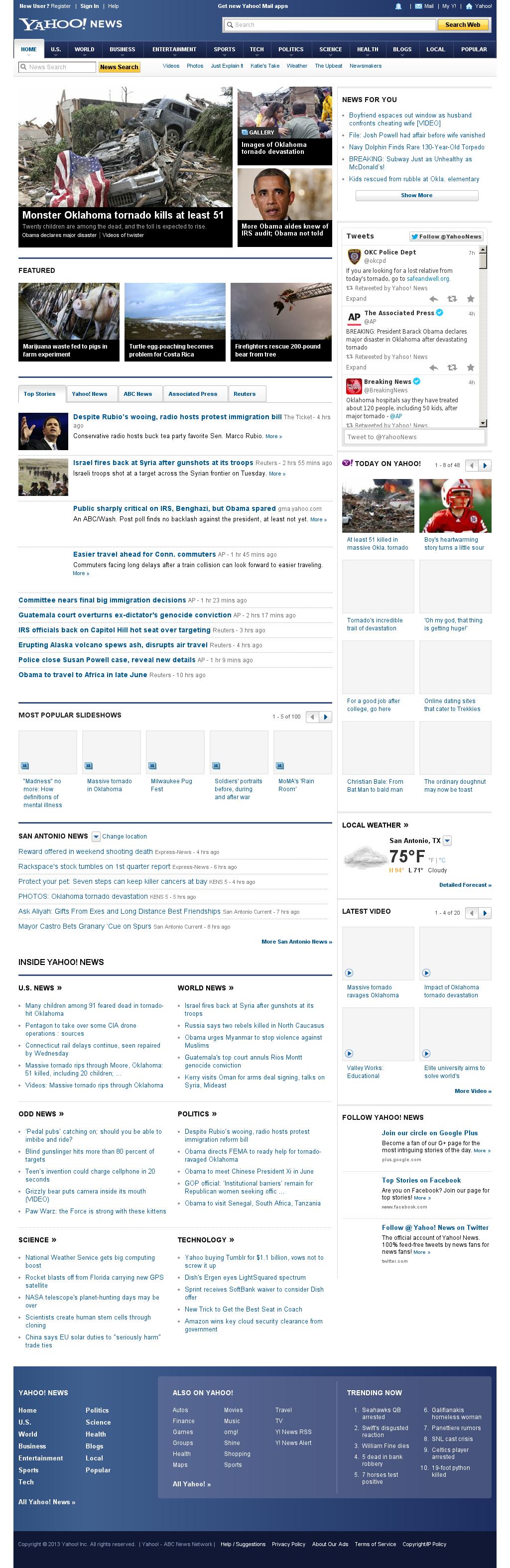 Yahoo! News at Tuesday May 21, 2013, 8:25 a.m. UTC