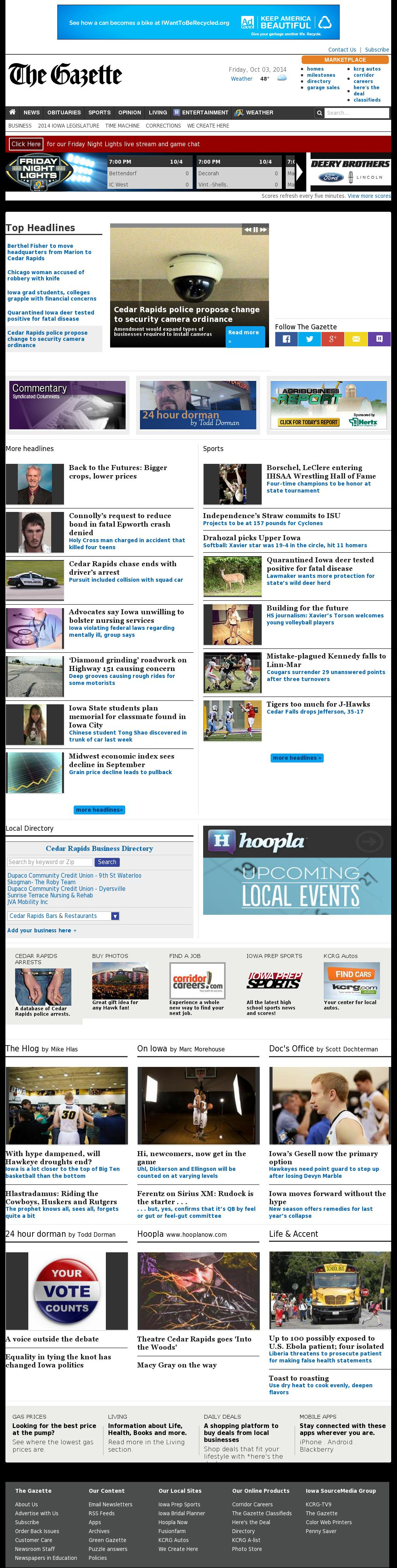 The (Cedar Rapids) Gazette at Friday Oct. 3, 2014, 8:06 p.m. UTC