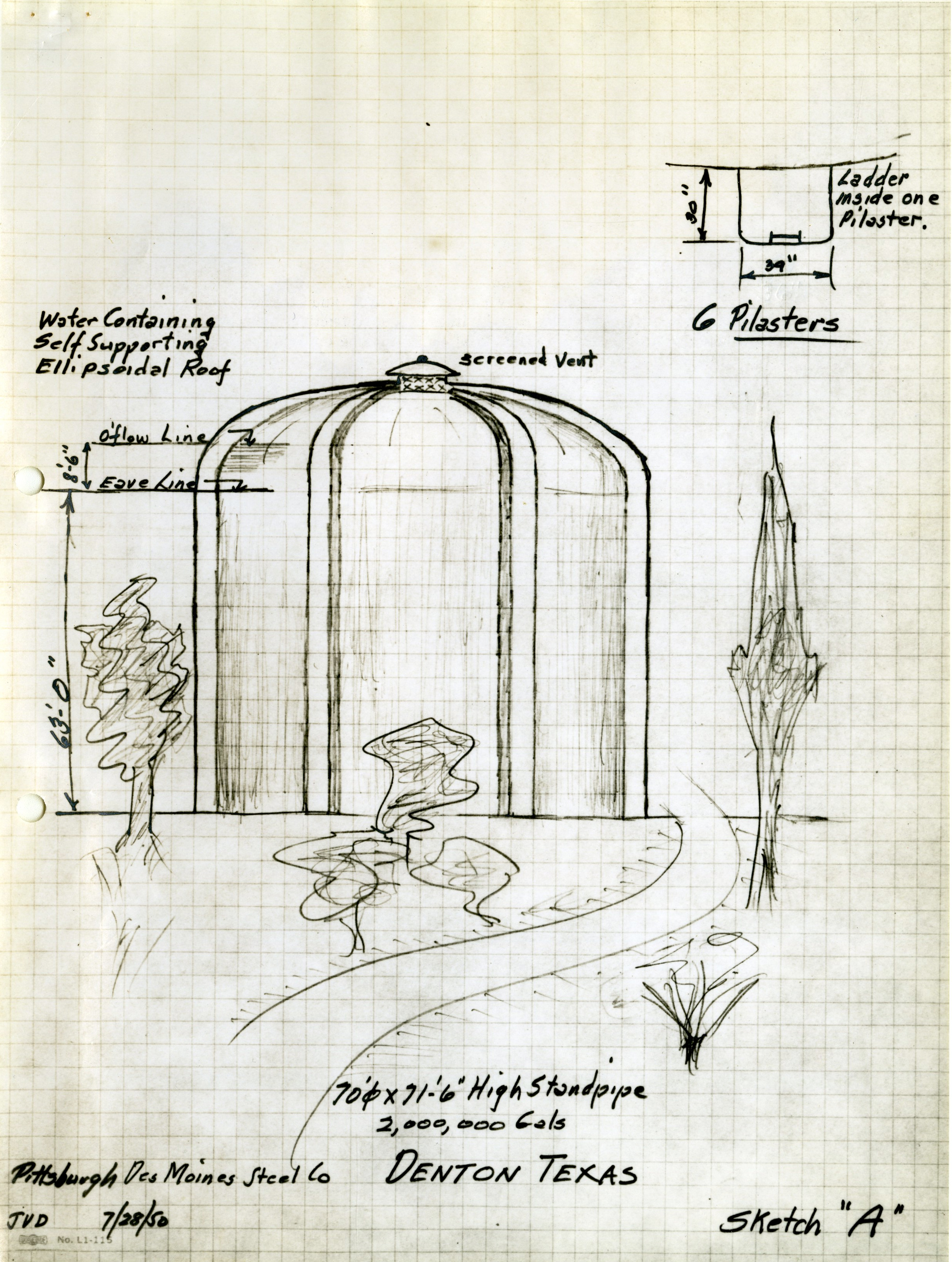Sketch of proposed McKenna Park Water Tower