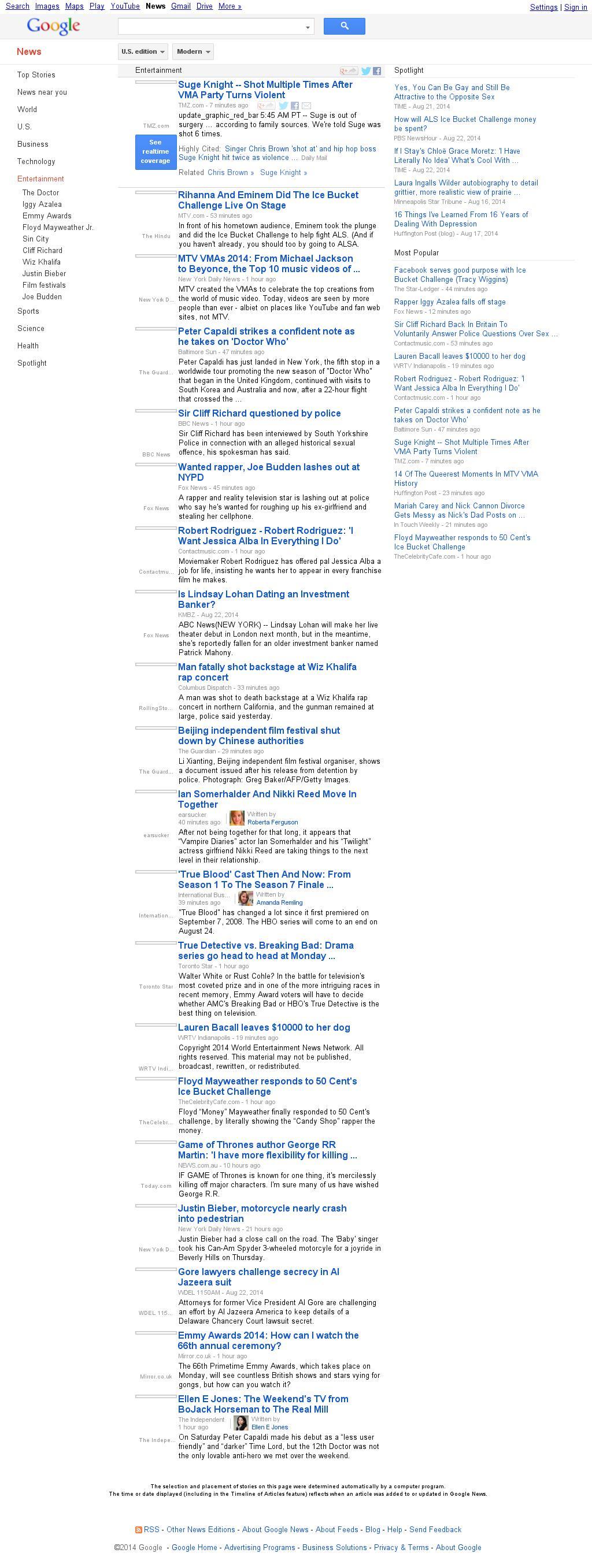 Google News: Entertainment at Sunday Aug. 24, 2014, 2:08 p.m. UTC