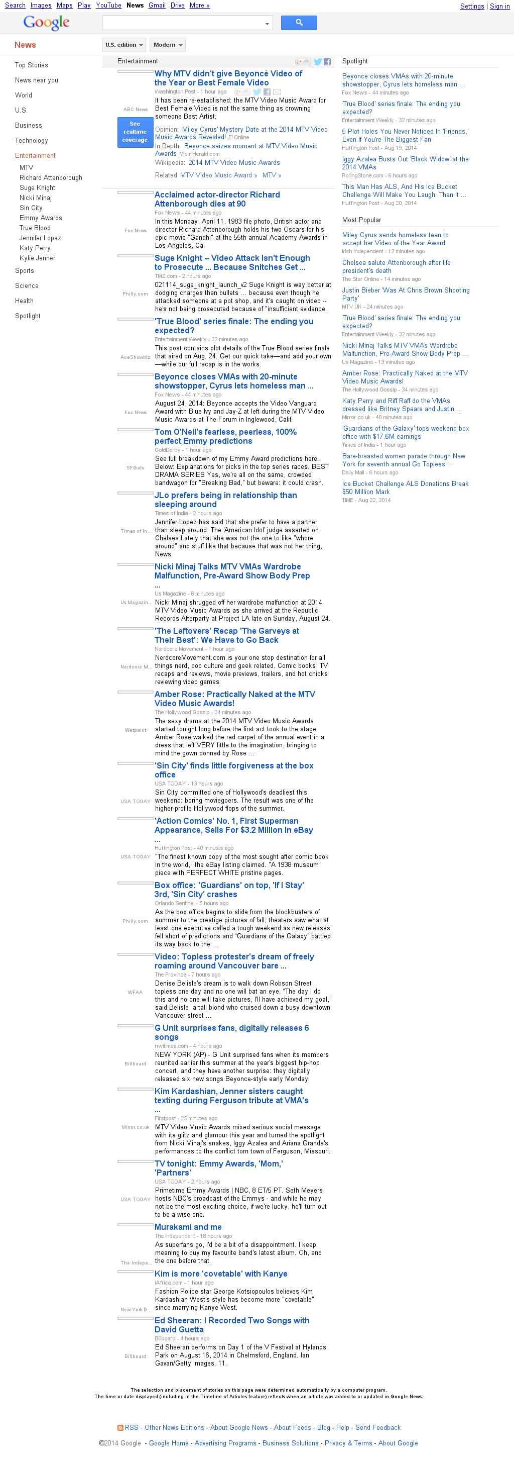 Google News: Entertainment at Monday Aug. 25, 2014, 10:08 a.m. UTC