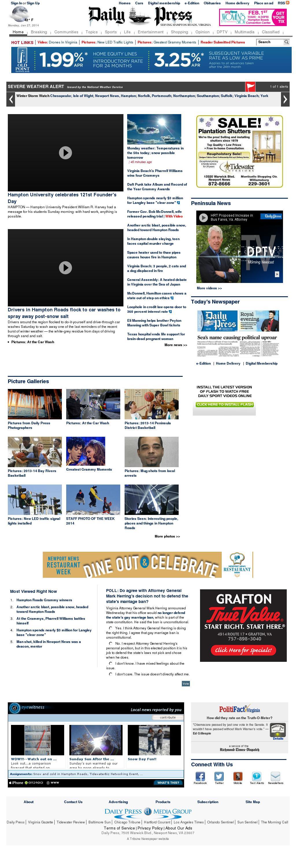 (Hampton Roads) Daily Press at Monday Jan. 27, 2014, 11:03 a.m. UTC