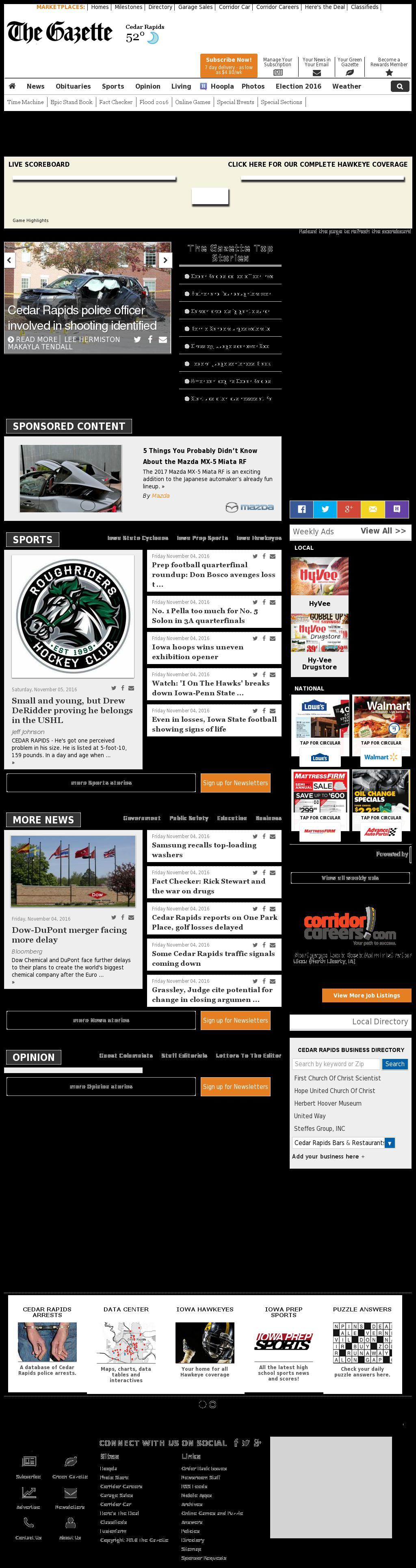 The (Cedar Rapids) Gazette at Saturday Nov. 5, 2016, 10:06 a.m. UTC