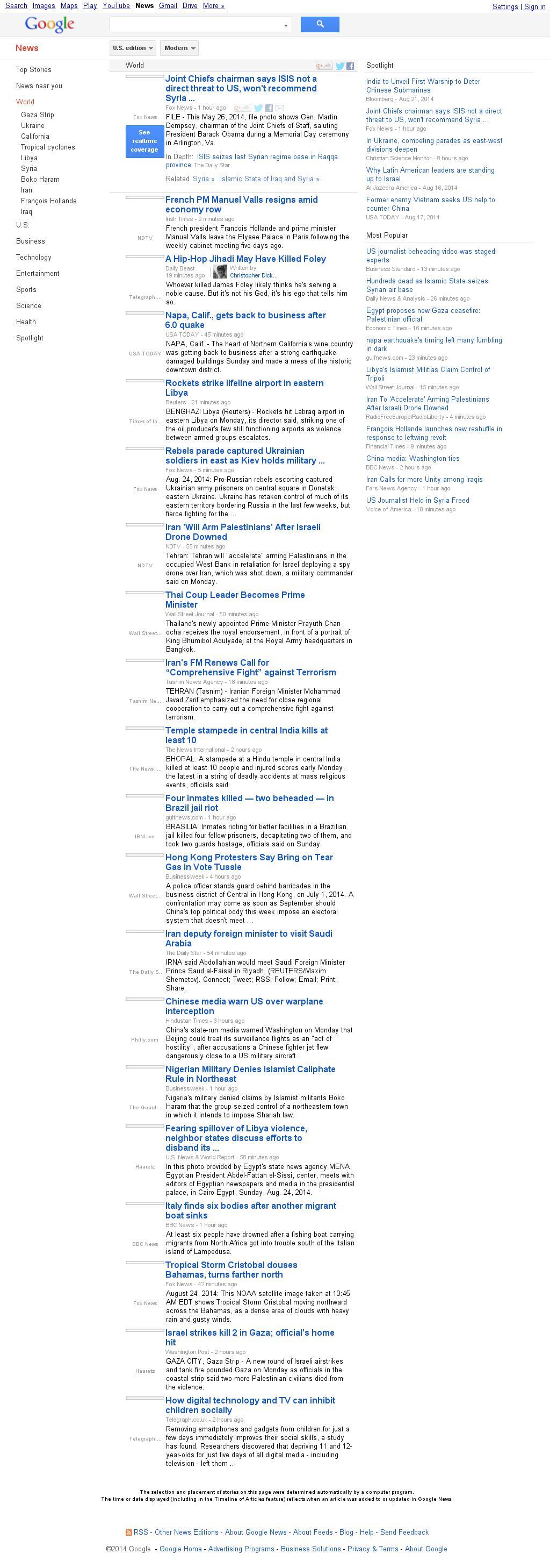 Google News: World at Monday Aug. 25, 2014, 10:09 a.m. UTC