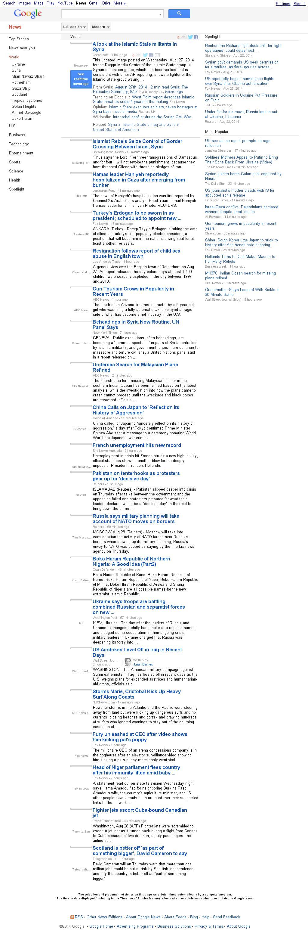 Google News: World at Thursday Aug. 28, 2014, 7:07 a.m. UTC