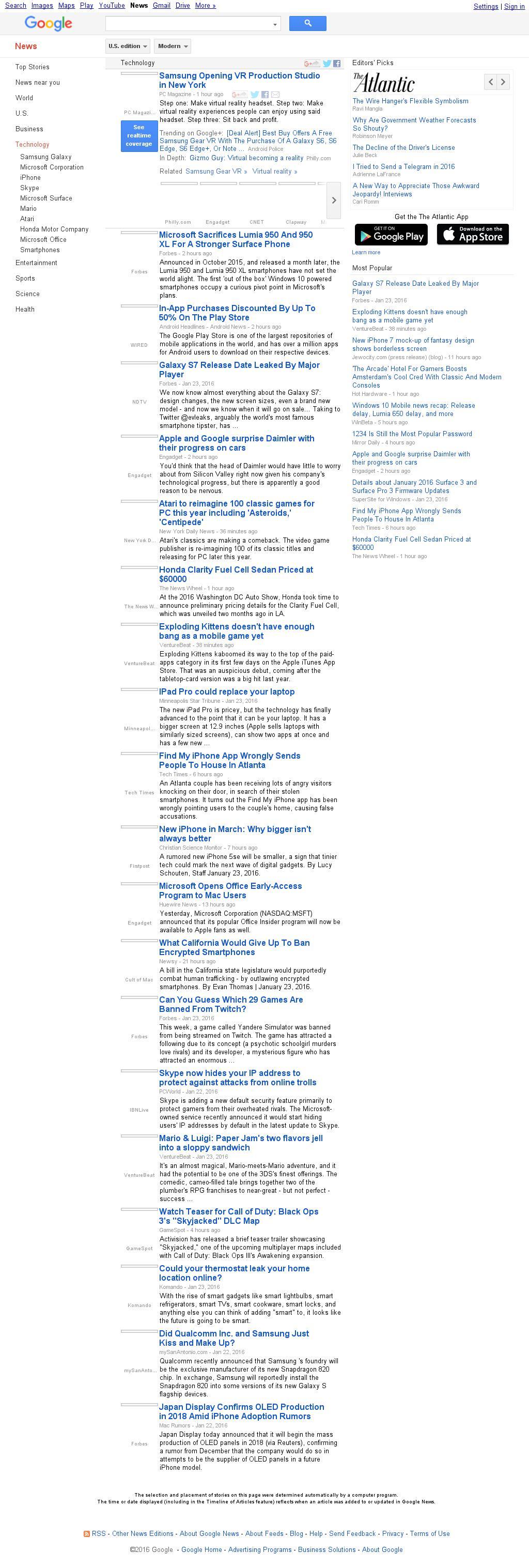 Google News: Technology at Sunday Jan. 24, 2016, 8:09 p.m. UTC