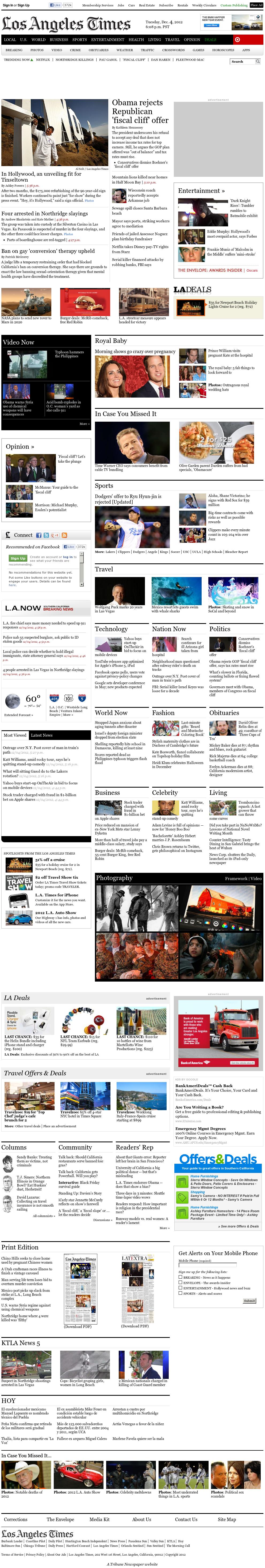 Los Angeles Times at Wednesday Dec. 5, 2012, 2:16 a.m. UTC