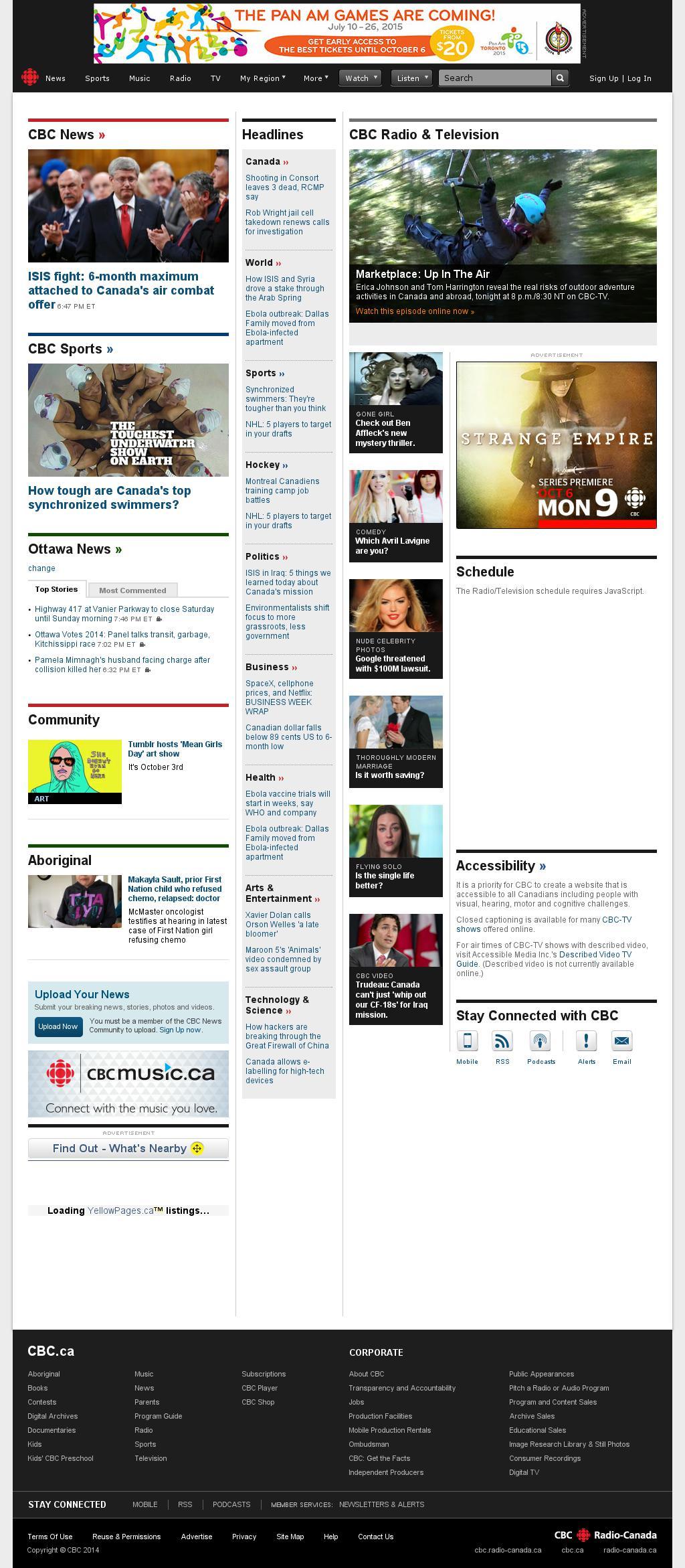 CBC at Saturday Oct. 4, 2014, 1:03 a.m. UTC
