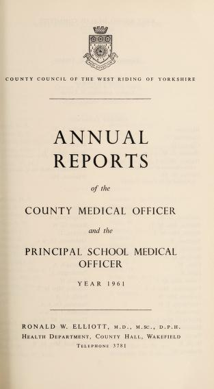 [Report 1961] by West Riding of Yorkshire (England). County Council