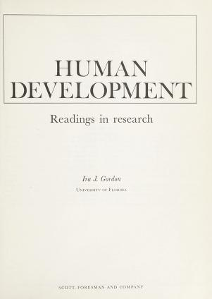 Cover of: Human development; readings in research   Ira J. Gordon